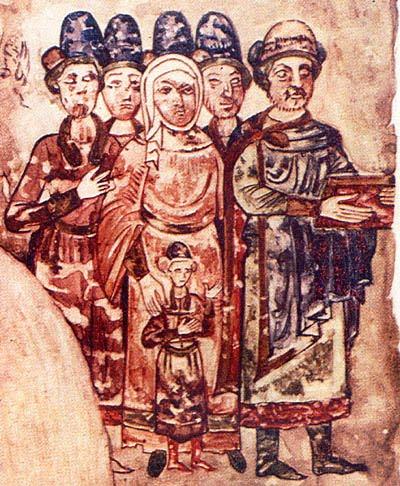 Святослав (крайний справа) с семьей. Миниатюра из Изборника 1073 г.